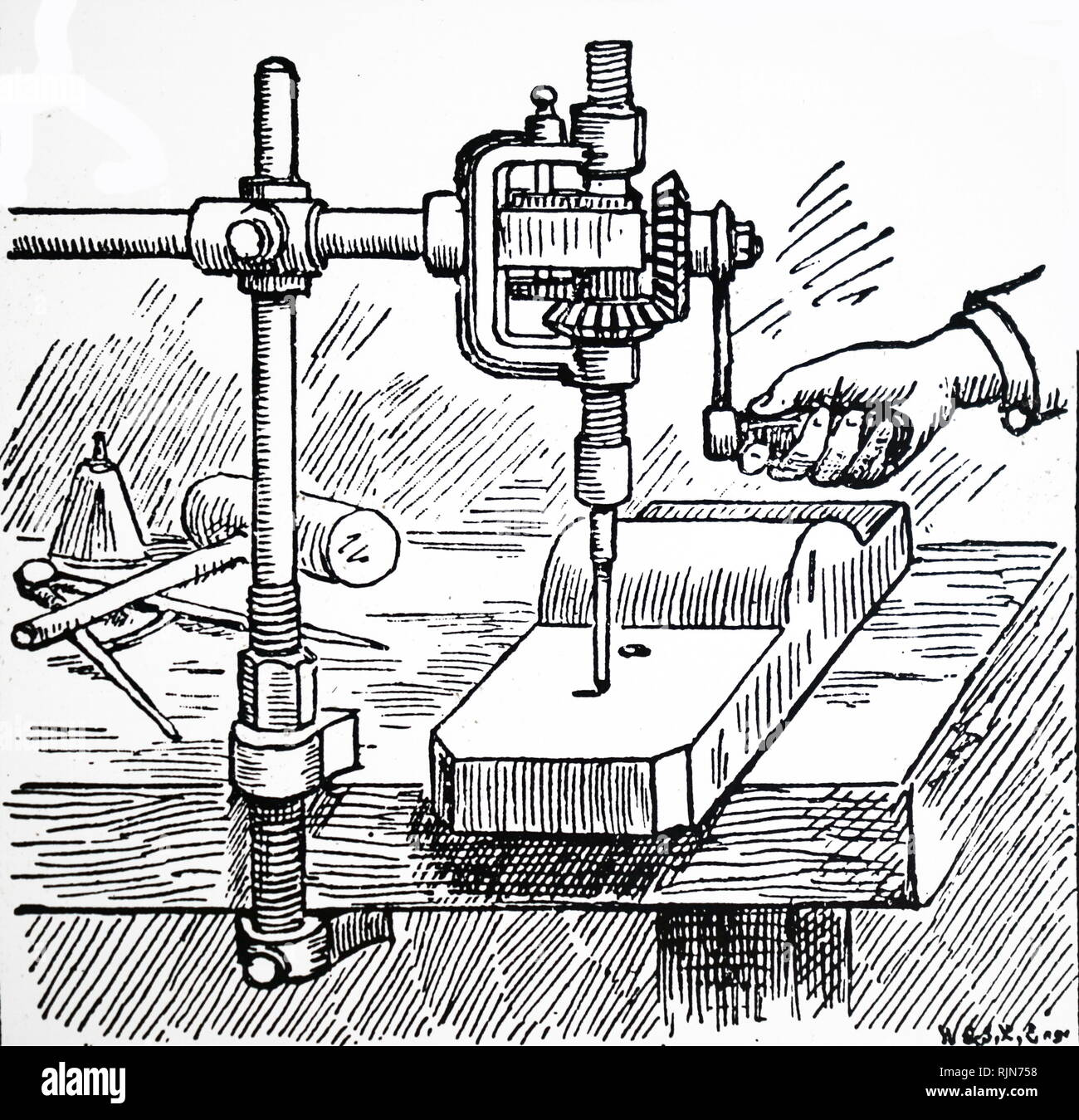 Illustration showing Small portable drill which could be