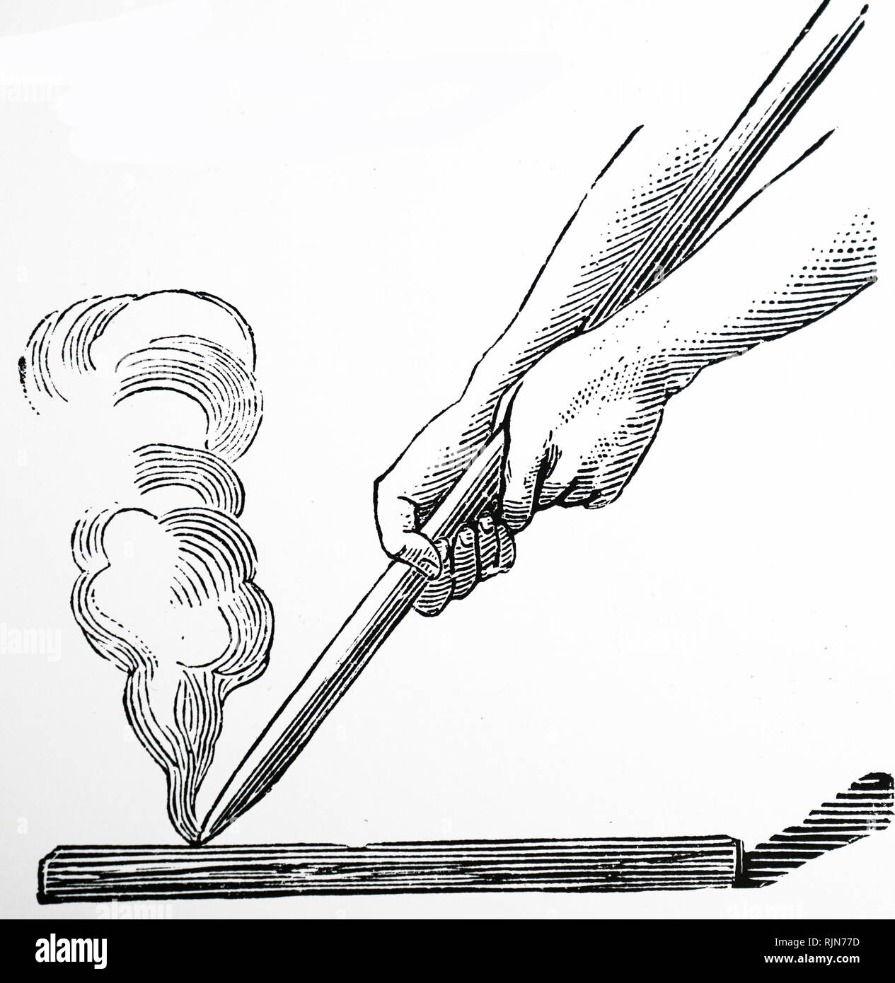 Illustration showing stick of hardwood being rubbed on a core of softwood - the blister making method-to produce fire - Stock Image