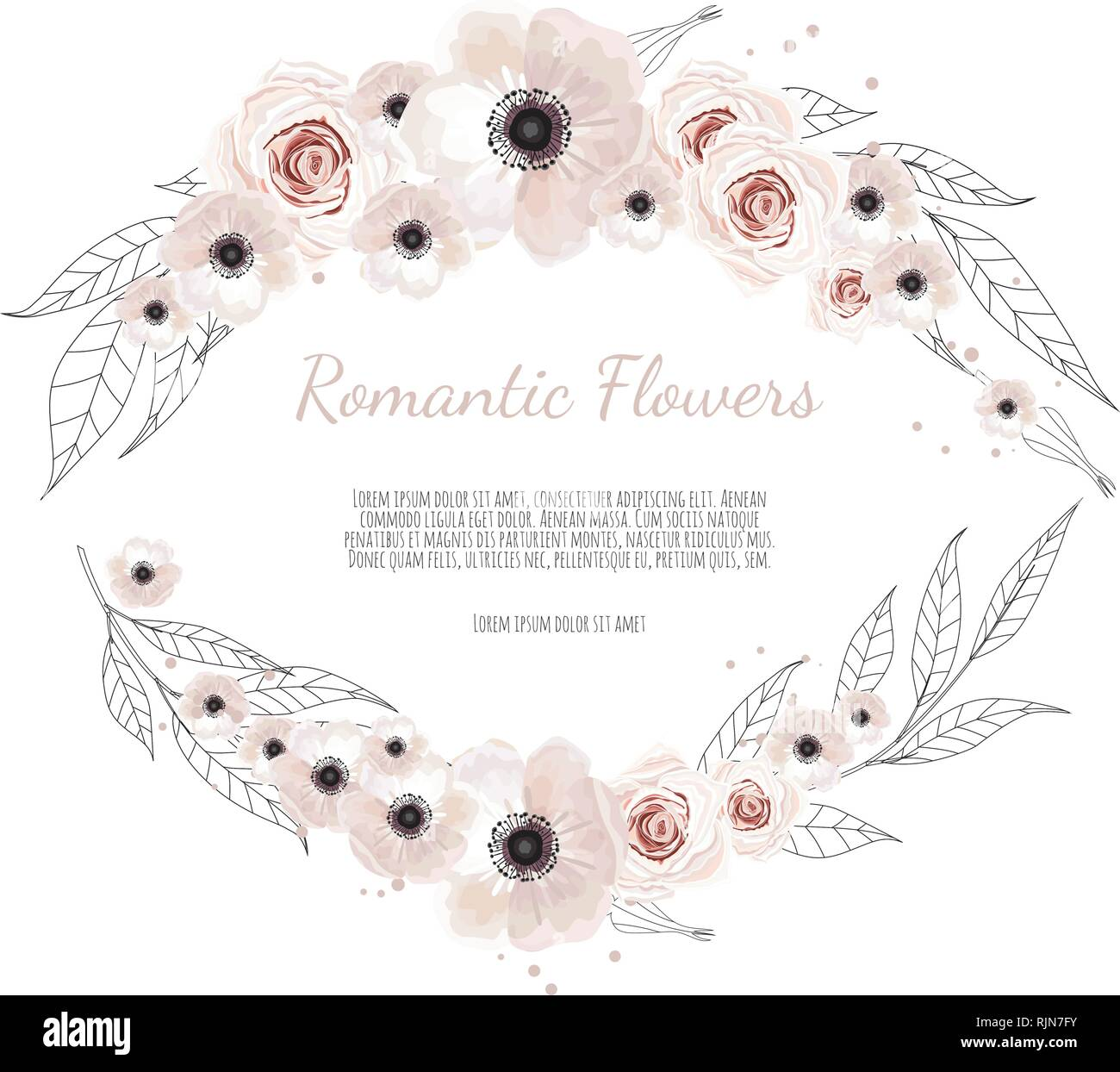 Floral Banner Isolated On White Background Wedding Invitation Posters Save The Date Or Greeting Design Stock Vector Image Art Alamy