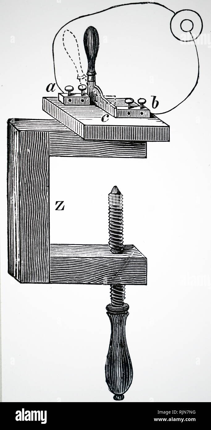 Illustration showing Edison's automatic current regulator 1890 - Stock Image