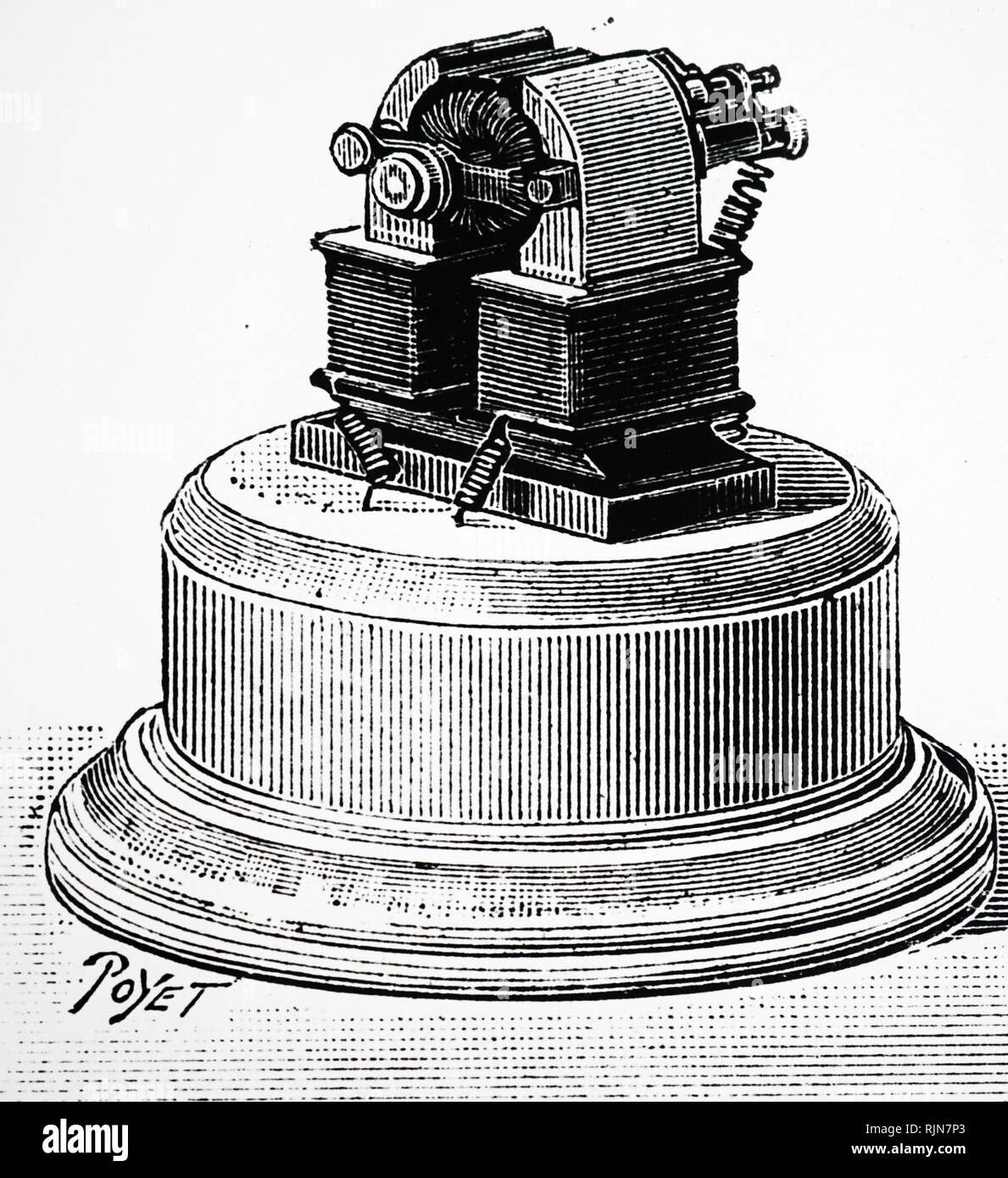 Illustration showing Electric light switch in the 'off' position. To turn the lights on, the handle was pushed to the left 1884 - Stock Image