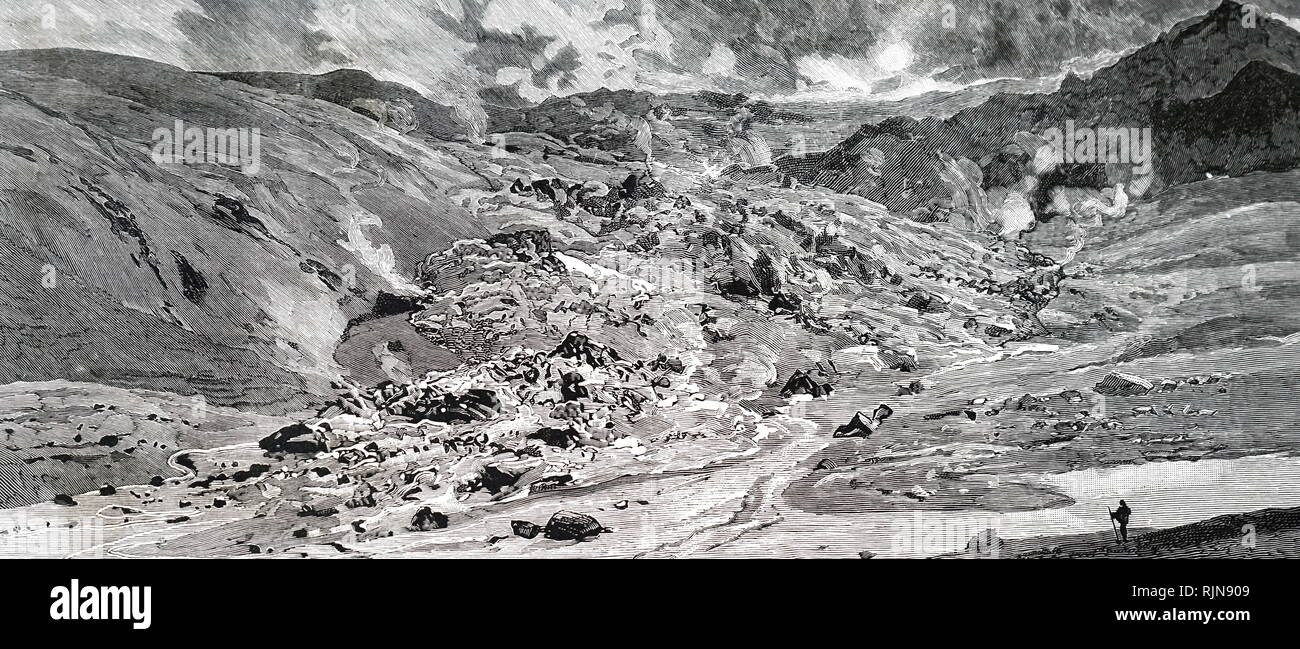 An engraving depicting the destruction of the village of Kantzorik, 40 miles from Erzurum, Turkey, 2nd August 1889. The volcano erupted, and mud and lava enveloped the area, killing 136 inhabitants. Dated 19th century - Stock Image
