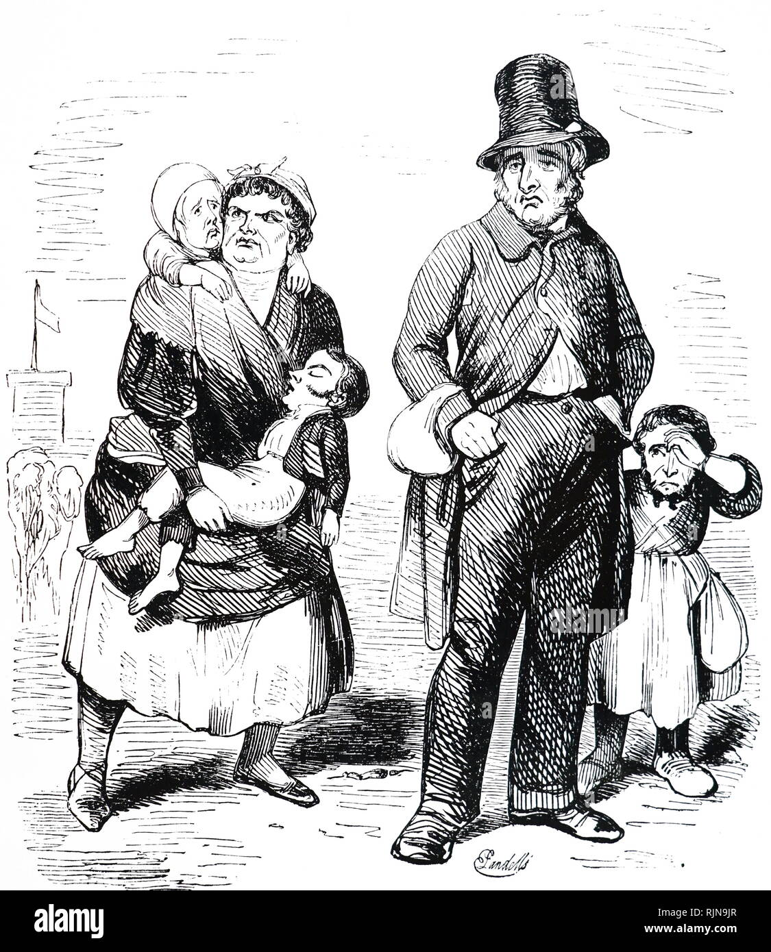A cartoon depicting Members of Parliament without a home because of the strike of masons during the building of the new Palace of Westminster. Dated 19th century - Stock Image