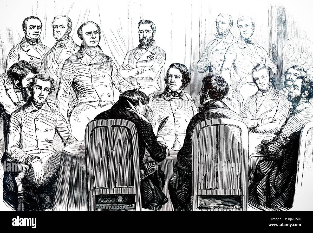 An engraving depicting the sitting of the Commission for the revision of the French constitution. Dated 19th century - Stock Image