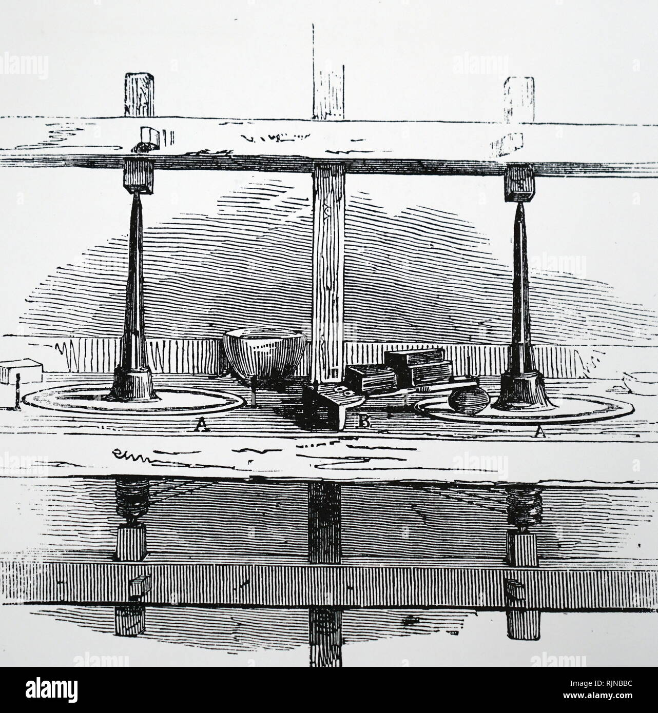 An engraving depicting Lapidaries' table used for the re-cutting of the Koh-I-Noor diamond. Dated 19th century - Stock Image