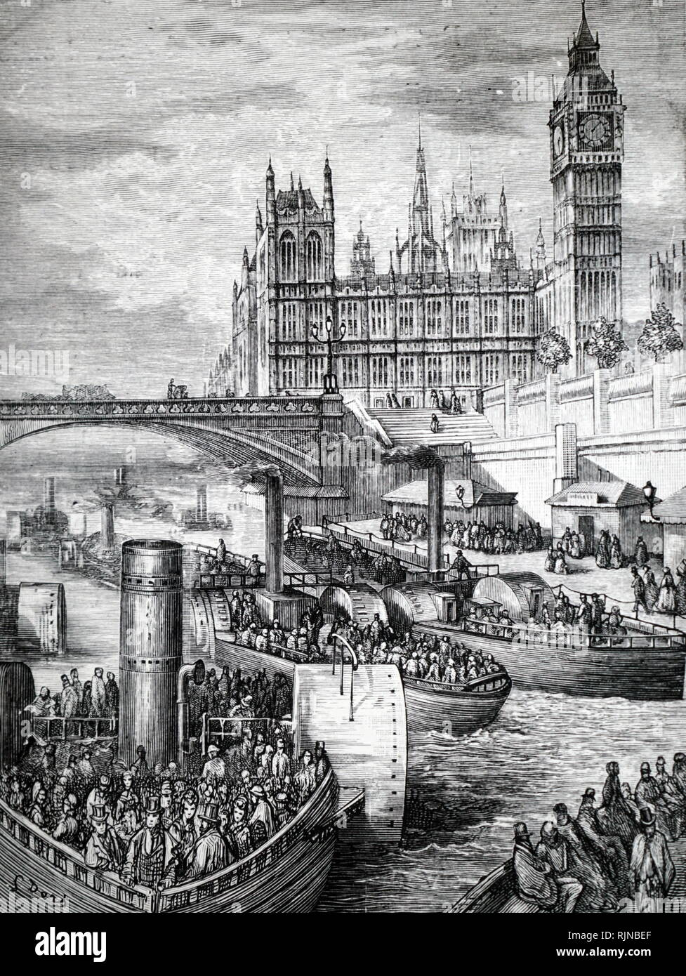 An engraving depicting steam launches on the Thames. Dated 19th century - Stock Image