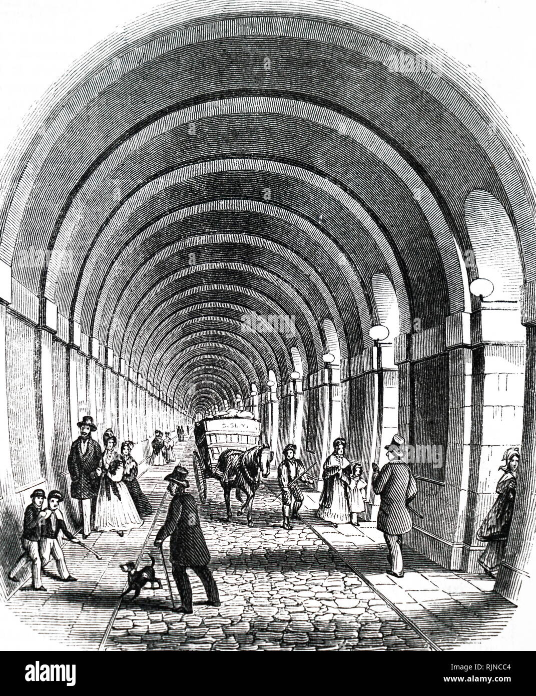 An engraving depicting the Thames Tunnel. Dated 19th century Stock Photo