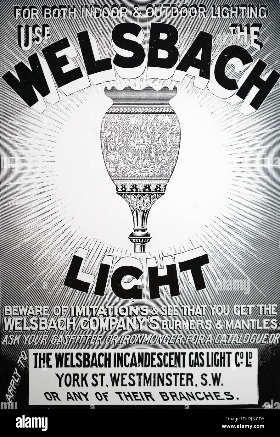 An advertisement for the Welsbach incandescent gas mantle. Dated 20th century - Stock Image