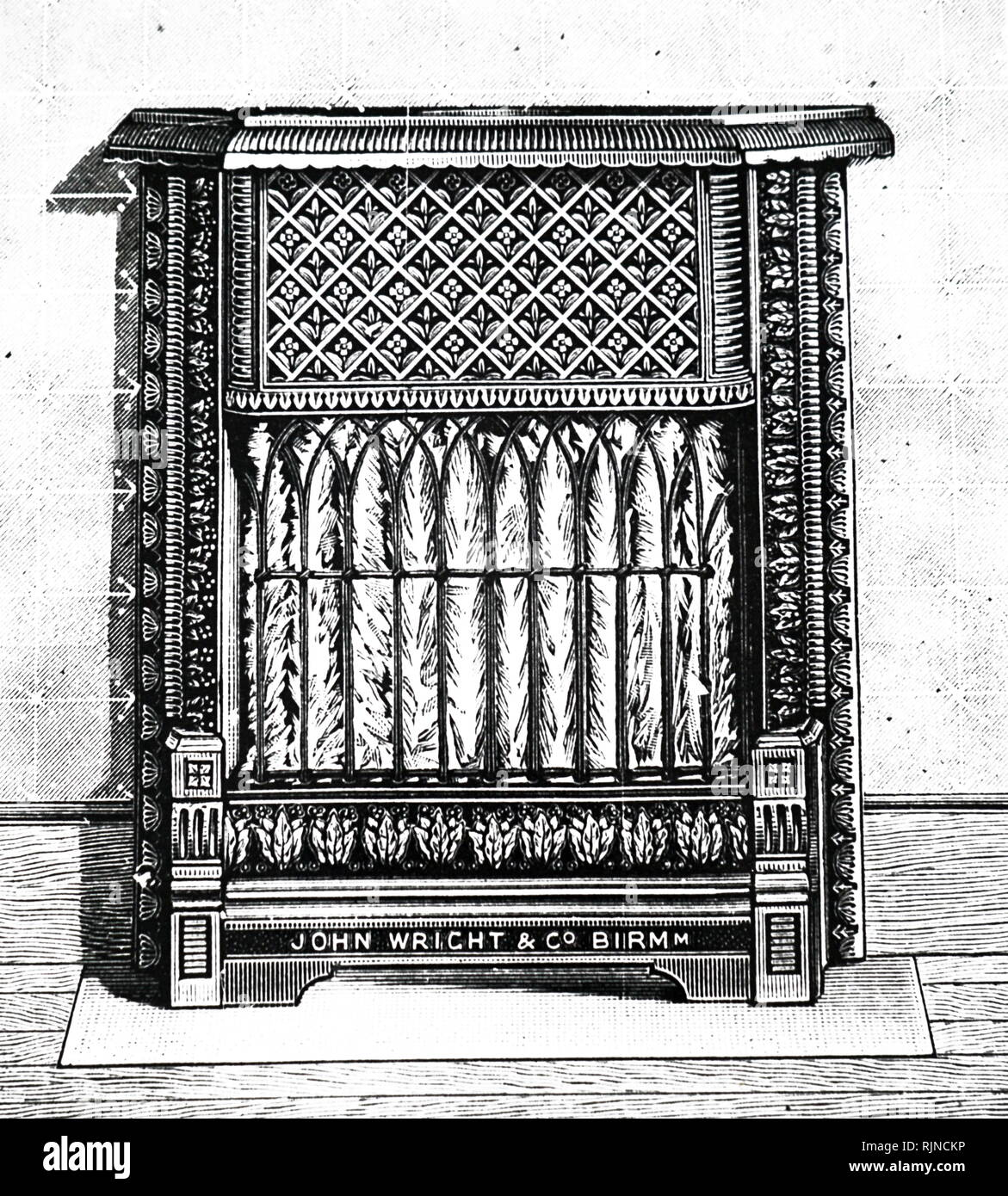 An engraving depicting an incandescent gas fire with a flat slab of fire clay studded with asbestos knobs. Dated 19th century - Stock Image