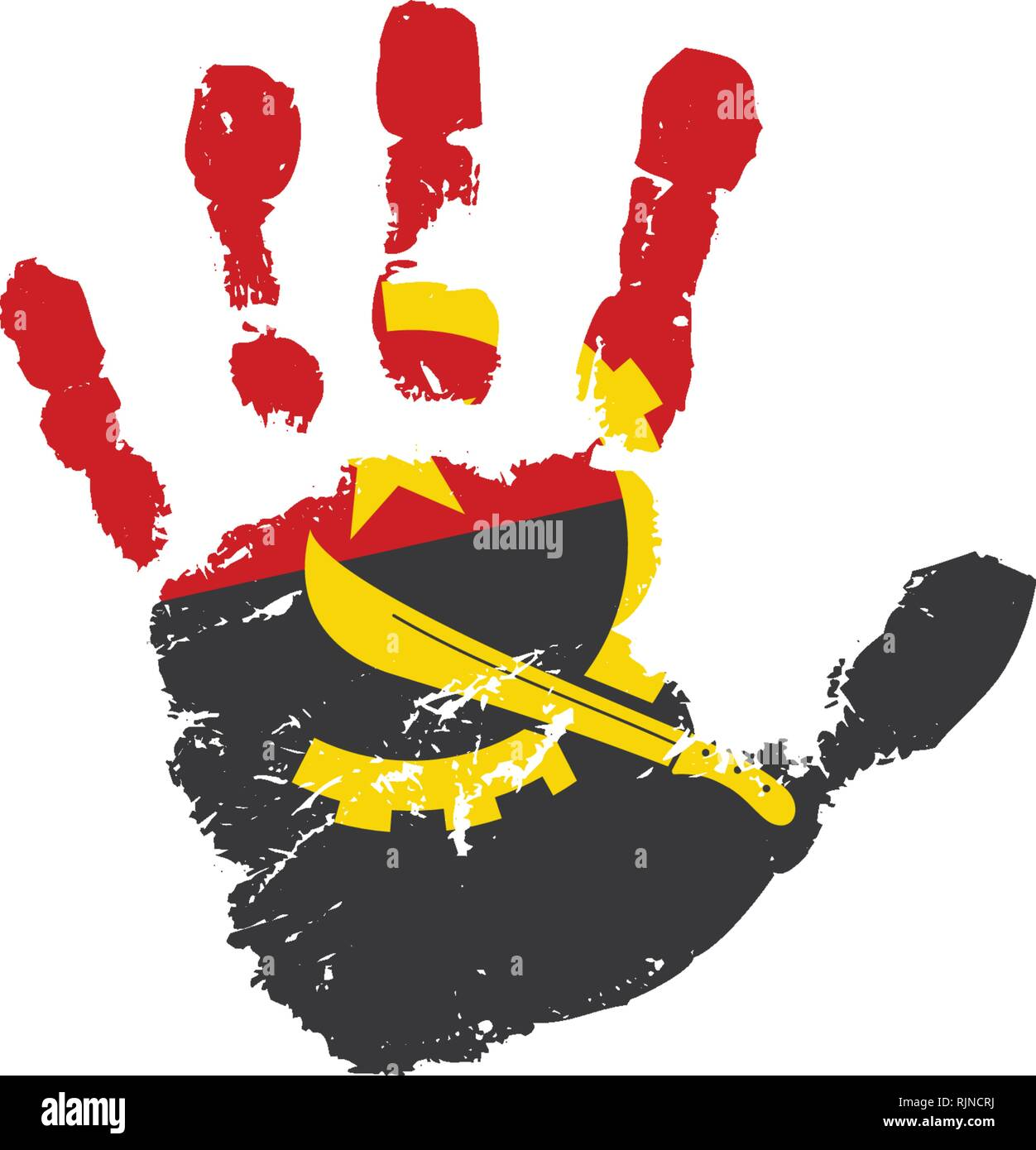 Angola flag and hand on white background. Vector illustration - Stock Image