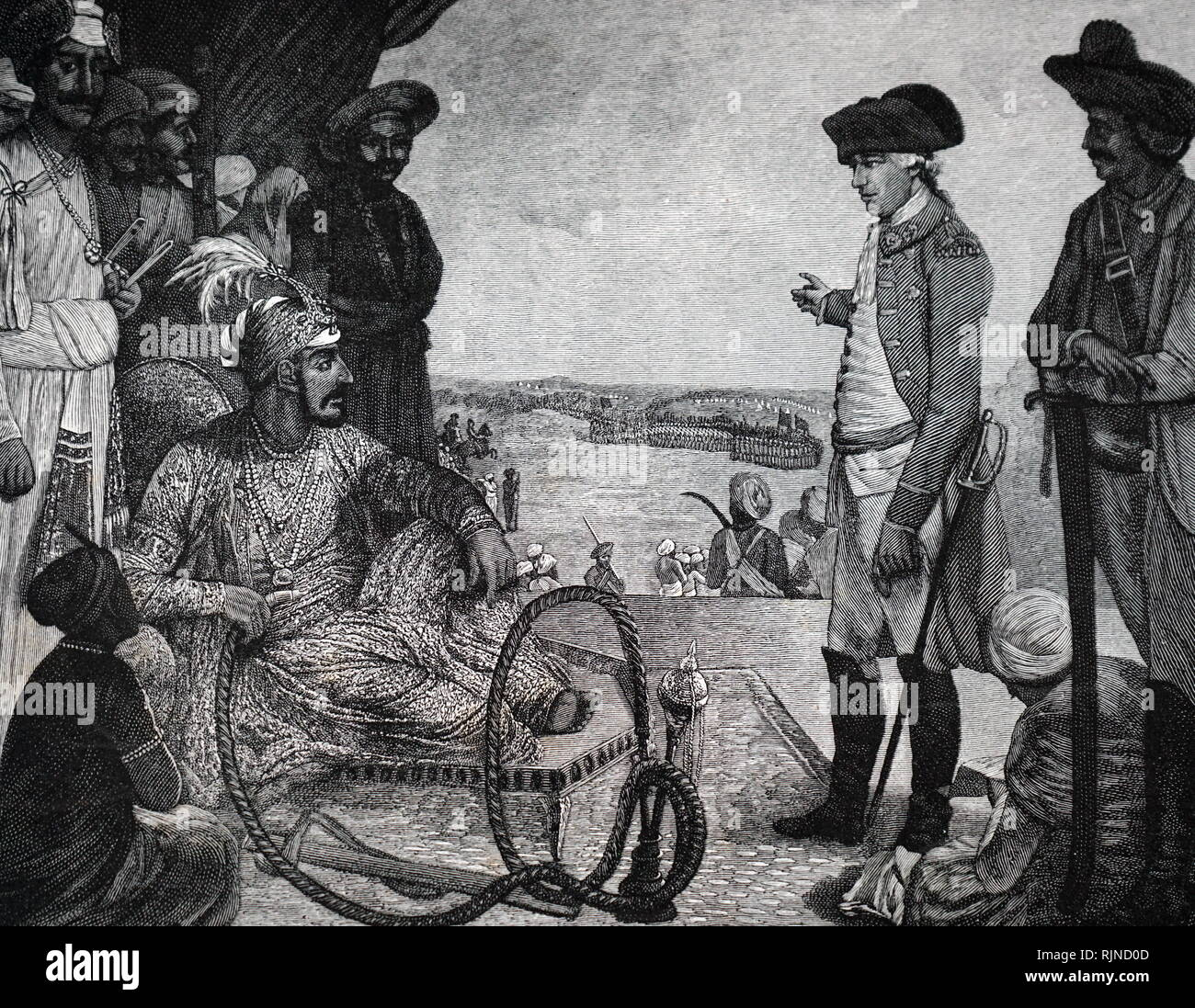 A woodcut engraving depicting a Shah Allum II, Mogul of Hindustan reviewing the East India Company's troops. Dated 18th century - Stock Image