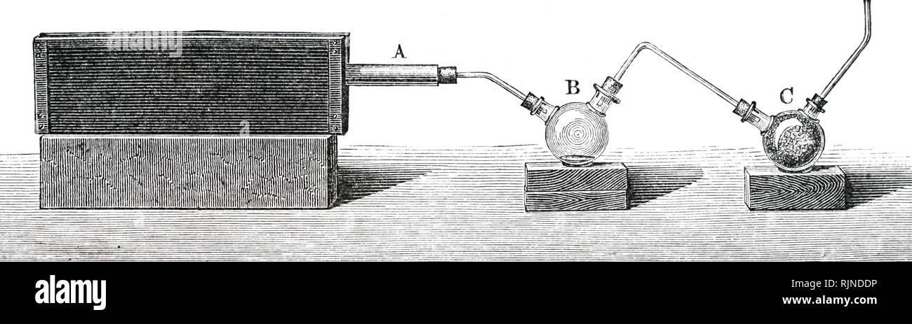 An engraving depicting laboratory apparatus for the destructive distillation of coal gas. Dated 19th century - Stock Image