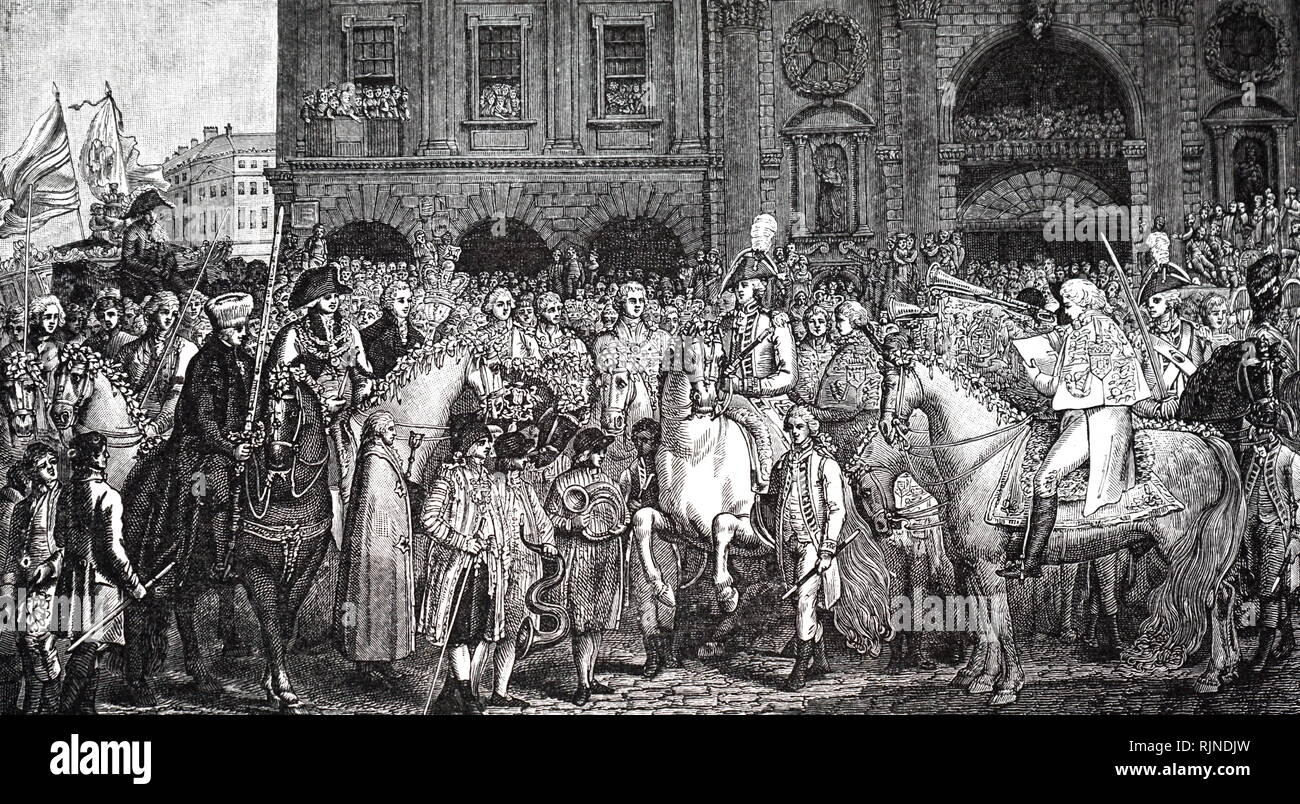An engraving depicting the proclamation of the peace of Amiens at the Royal Exchange, London. Dated 19th century - Stock Image
