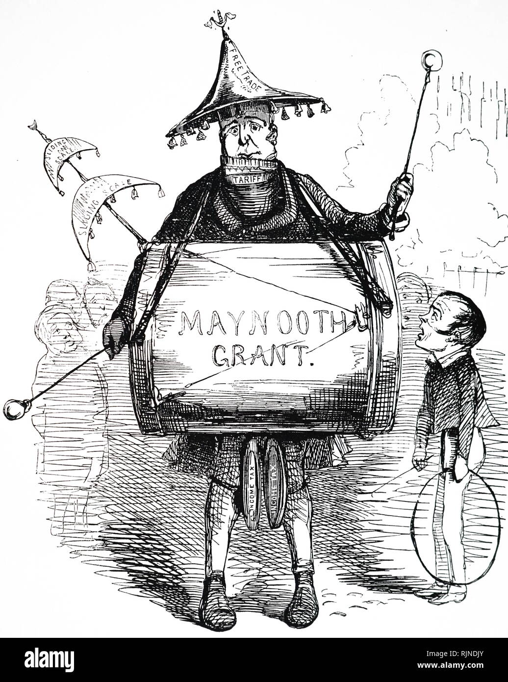 A cartoon commenting on the Maynooth Grant. Dated 19th century - Stock Image