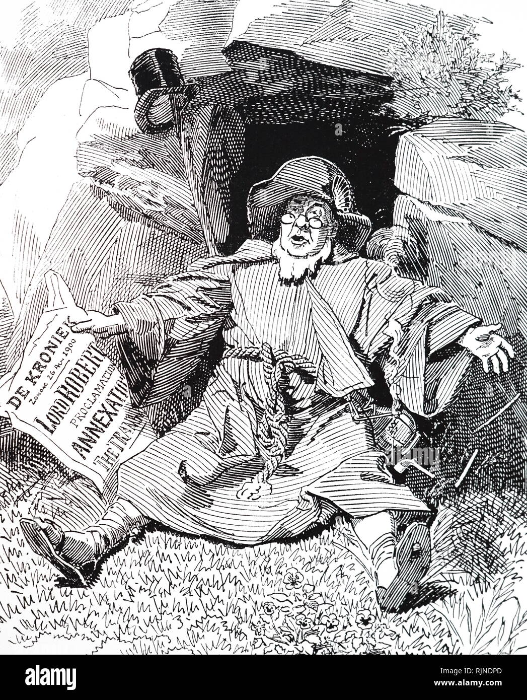 A cartoon depicting Paul Kruger (1825-1904) an Afrikaner farmer, soldier and statesman. After the outbreak of the Boer War, Kruger was too old to cope with guerrilla warfare and went to live in Holland until the end of the War. Illustrated by Linley Sambourne. - Stock Image