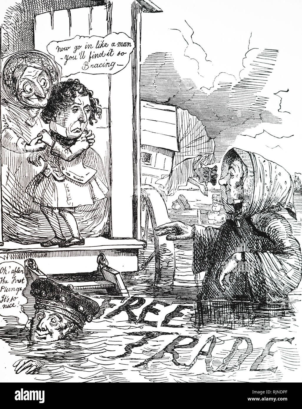 A cartoon depicting Richard Cobden waiting to a hesitant Benjamin Disraeli to take the plunge in support of Free Trade. Robert Peel (bottom left) has already taken the leap and found it not to be as bad as he had expected. Illustrated by John Leech. - Stock Image