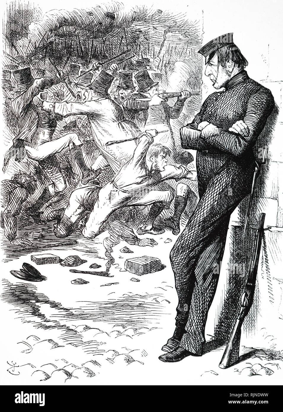 A cartoon depicting Prime Minister William Gladstone watching the unrest in Ireland, waiting to intervene. April 4th a new Irish Peace Preservation Act was passed. Illustrated by John Tenniel. - Stock Image