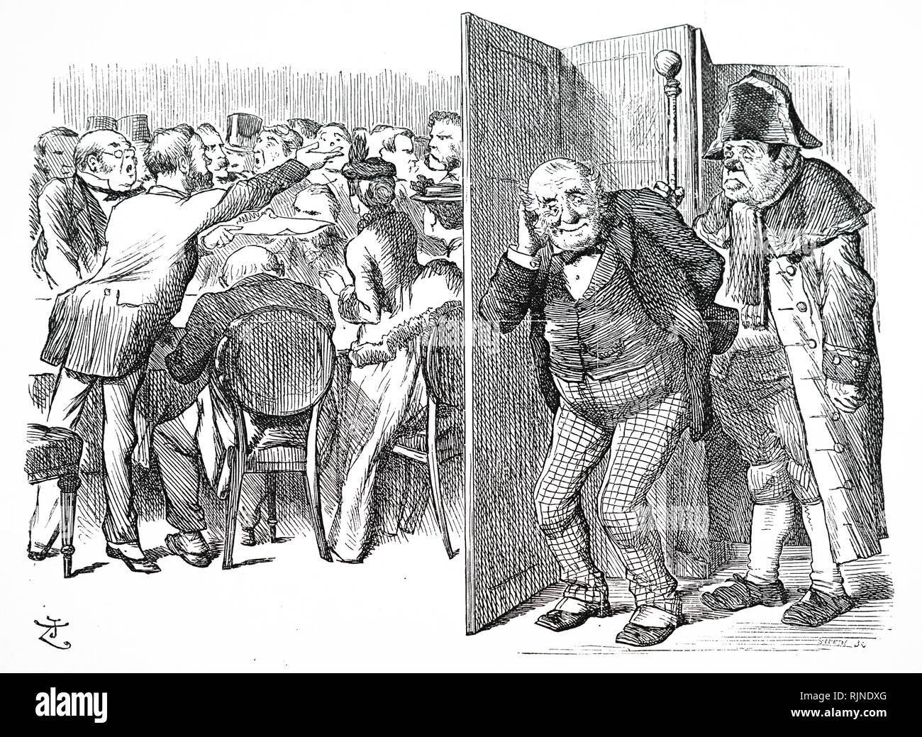 A cartoon depicting the London County Council constituted by the Local Government Act of 1888, and took on responsibilities of the Metropolitan Board of Works. The First Council elected Lady Sandhurst and Miss Cobden on the 7th January 1889. - Stock Image