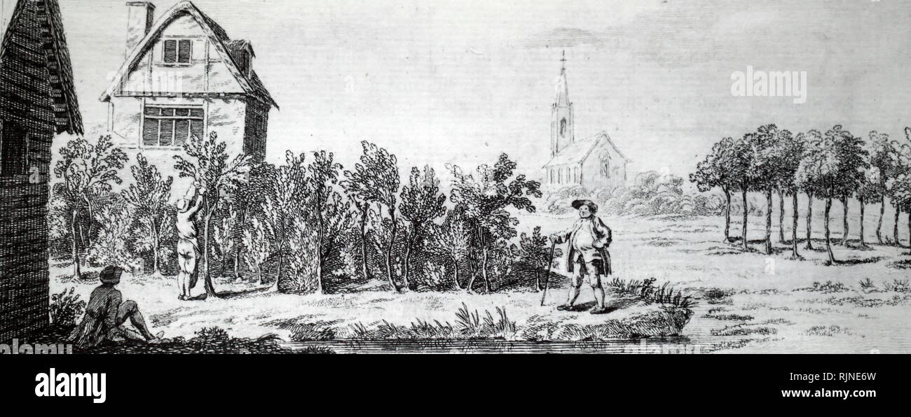 A woodcut engraving depicting a landowner inspecting an immature coppice. - Stock Image