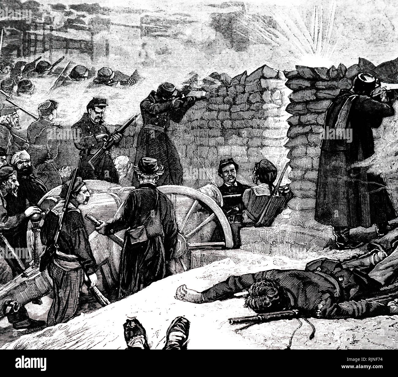 An engraving depicting the Paris Commune - the last stand of the Communards at the barricades. Dated 19th century - Stock Image