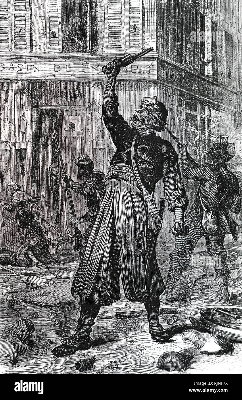 An engraving depicting the Paris Commune - the last orders of the Communists after the Versaillists had entered the city. Inhabitants were ordered to open their shutters and close their windows so that the Versaillists could not hide behind the shutters and snipe. Dated 19th century - Stock Image