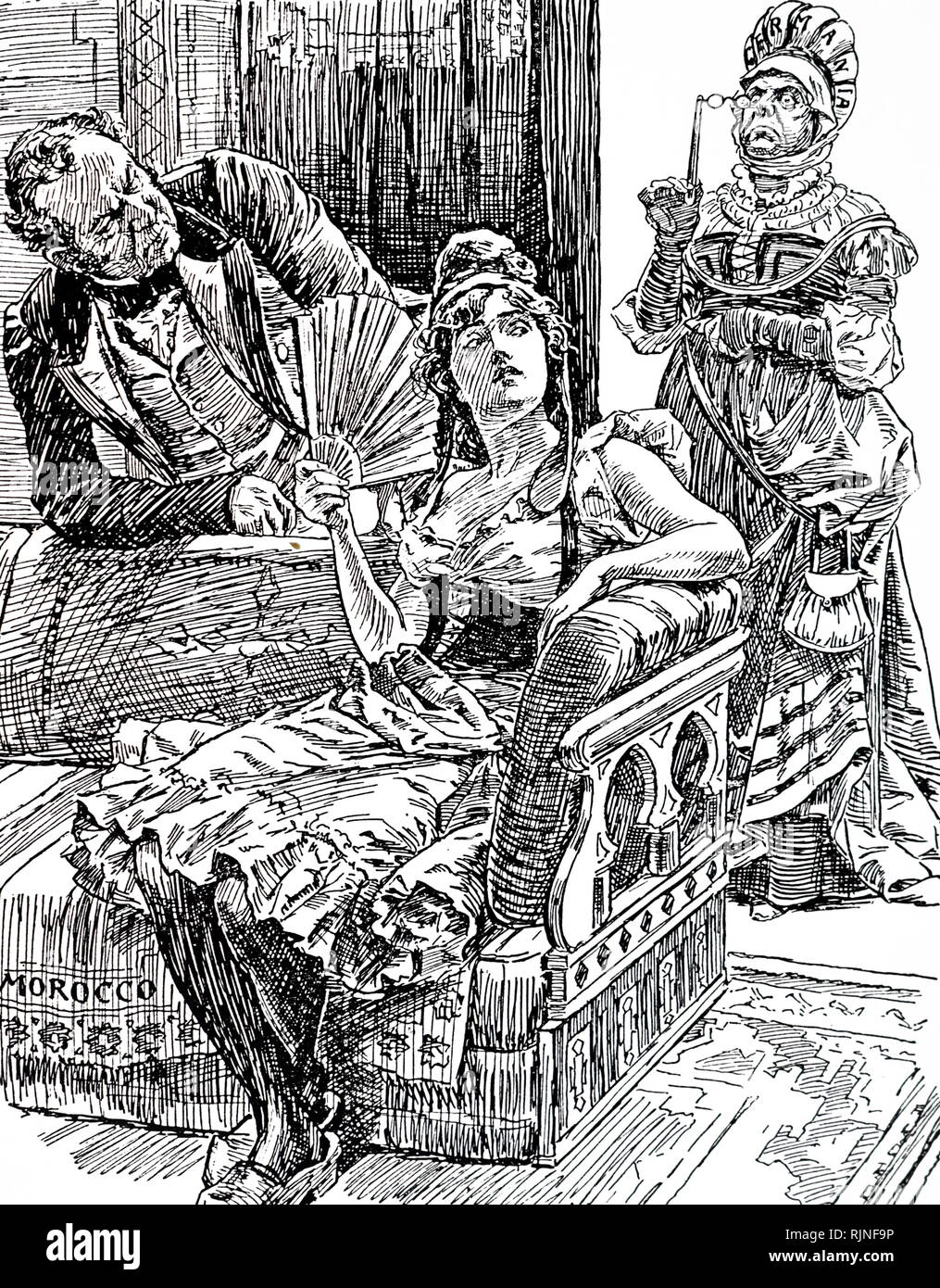 A cartoon commenting on the First Moroccan Crisis or the Tangier incident. Germany looks in disapproval as France and Britain approach an engagement. Illustrated by Bernard Partridge. - Stock Image