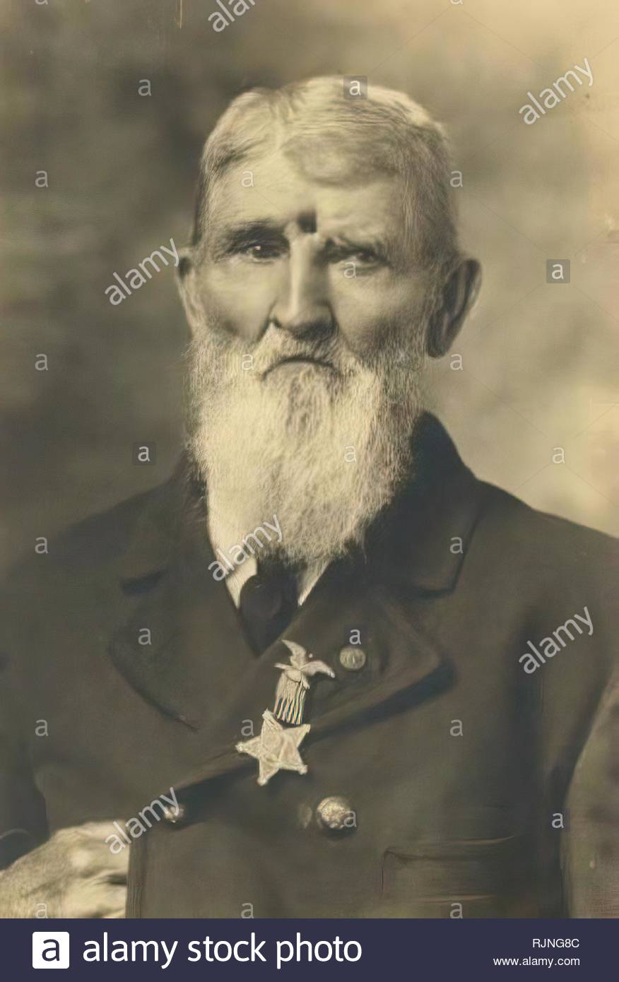 Civil War veteran Jacob Miller lived with an open gunshot wound to the forehead. He was quoted as saying Ò17 years after I was wounded, a buckshot fell out of my wound, and 31 years after two pieces of lead fell outÓ. Photo/Quote circa 1899. - Stock Image