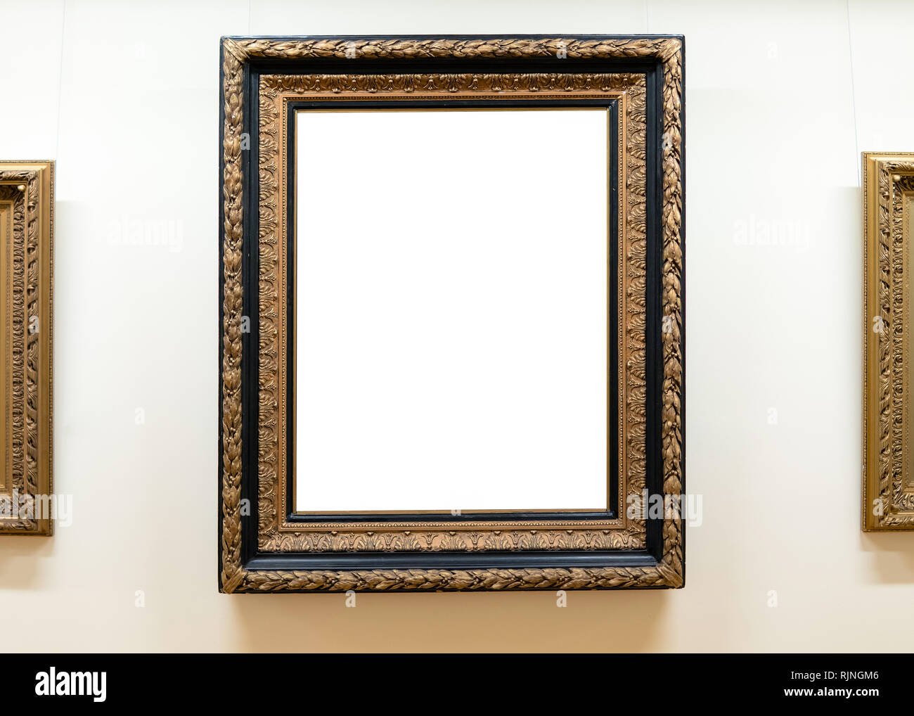 blank empty frames hanging on museum wall art gallery, museumblank empty frames hanging on museum wall art gallery, museum exhibition white clipping path