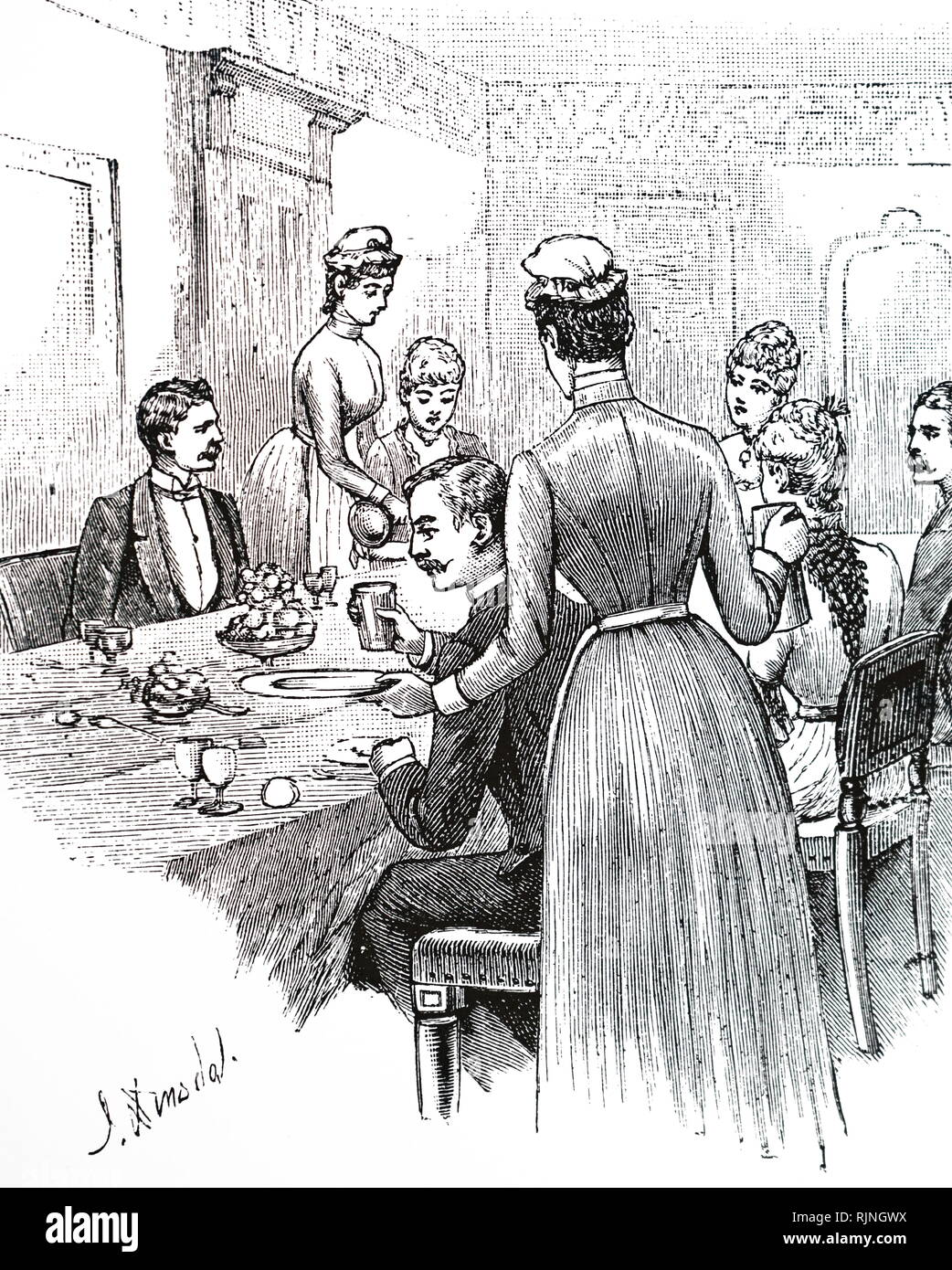 An engraving depicting parlour maids serving at table. Dated 20th century - Stock Image
