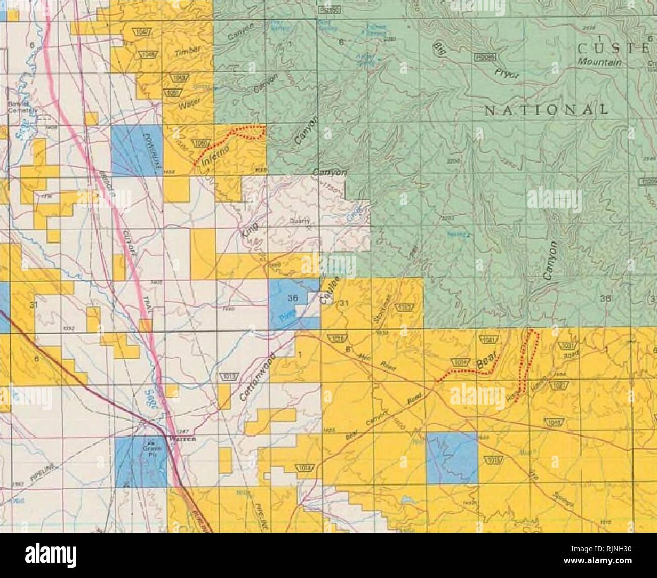 Montana Map Of Mountains Stock Photos & Montana Map Of ...