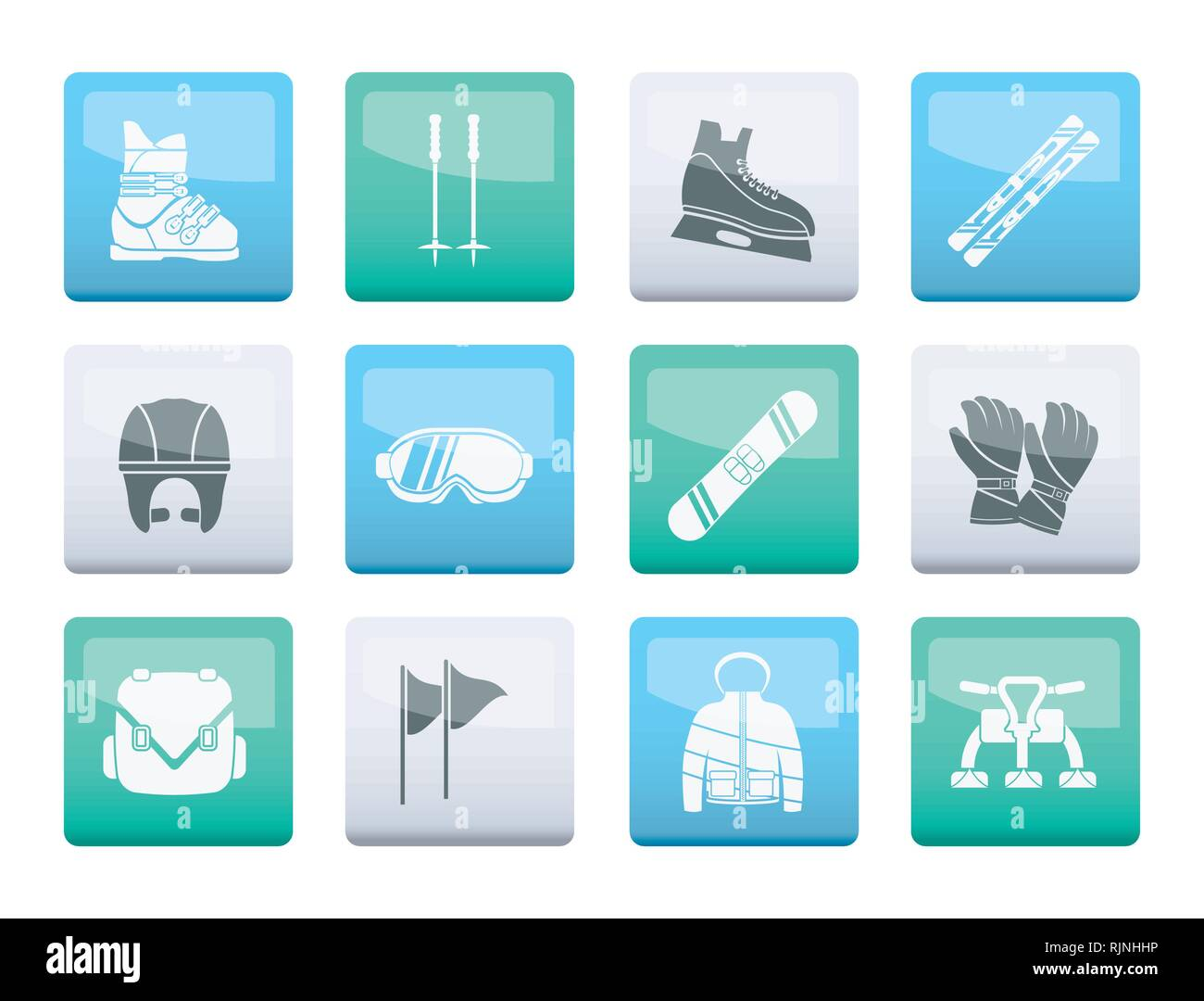 Ski and snowboard equipment icons over color background - vector icon set - Stock Image