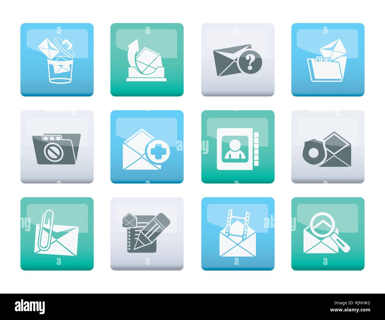 E-mail and Message Icons over color background - vector icon set - Stock Image