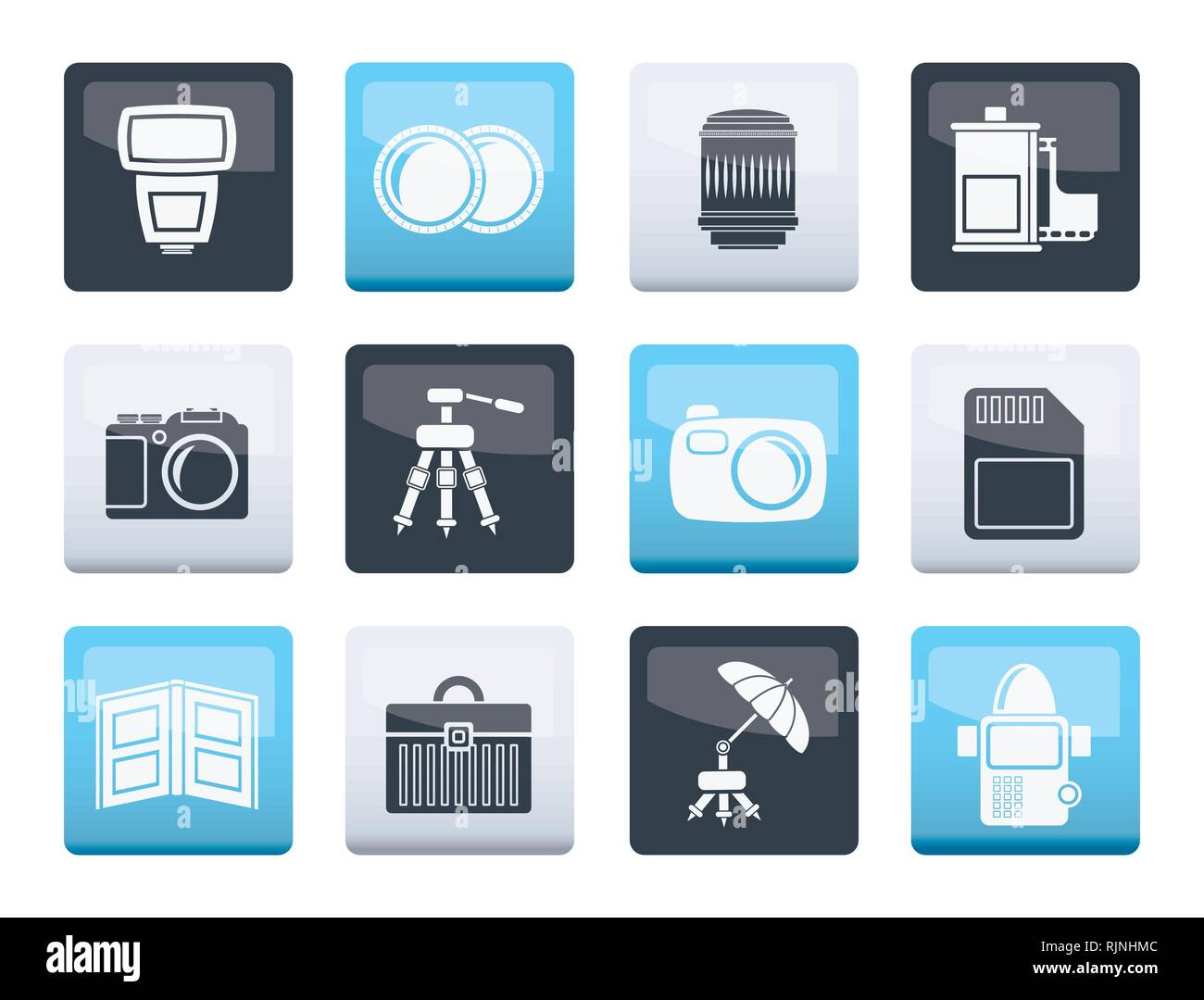 Photography equipment icons over color background - vector icon set Stock Vector
