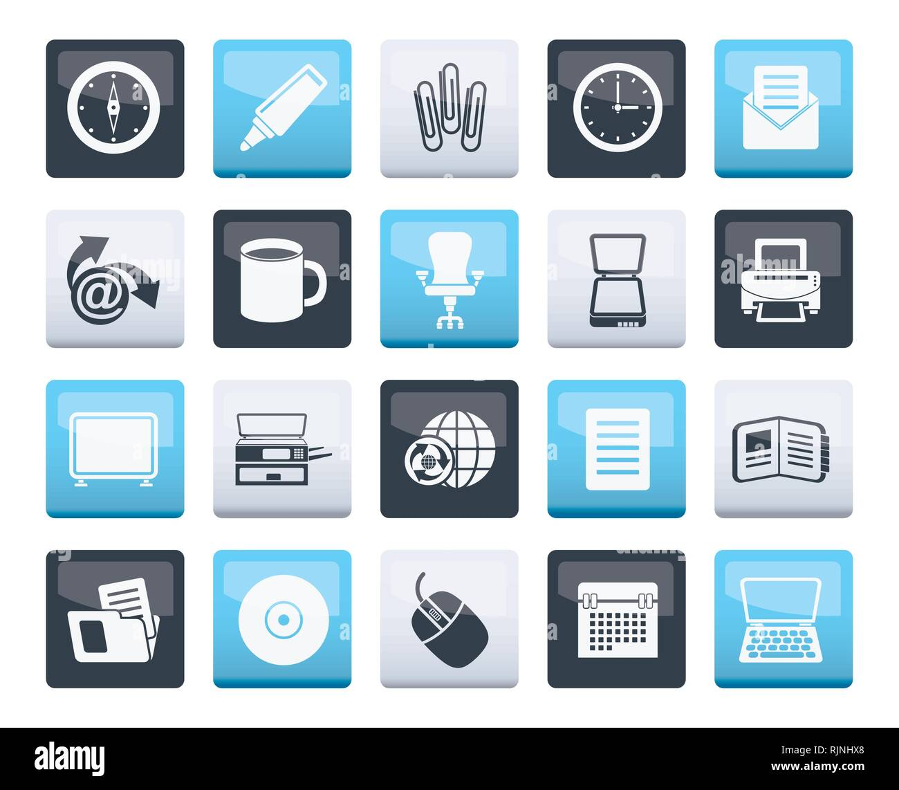 670dda0722 Business and Office tools icons over color background - vector icon set 2