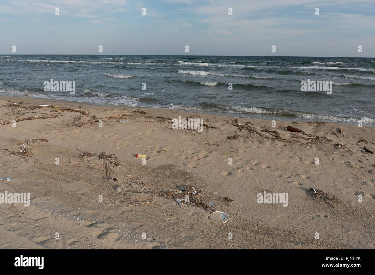 Dirty beach stripes - Stock Image