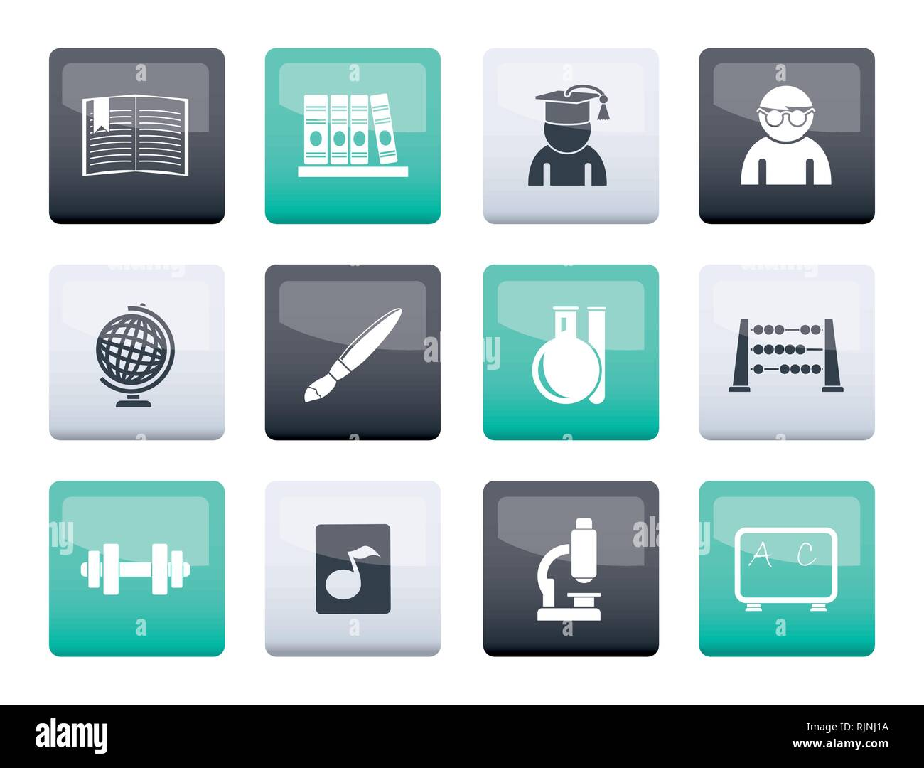 School and education icons over color background - vector icon set - Stock Vector