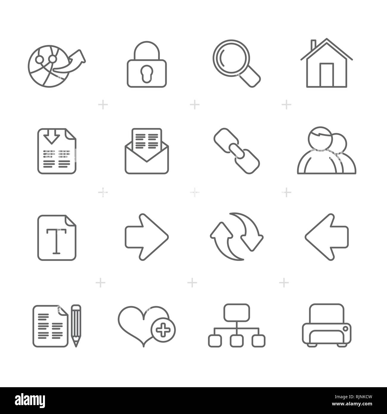Line Internet and Web Navigation Icons -vector icon set - Stock Image