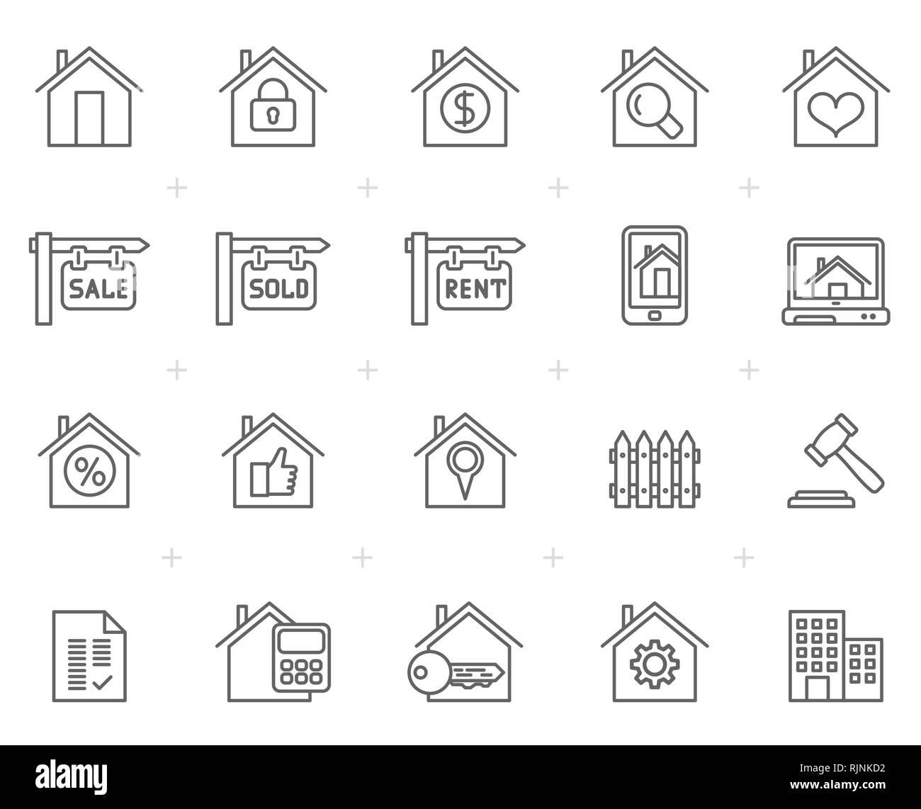 Building and Real estate icons  - vector icon set - Stock Image