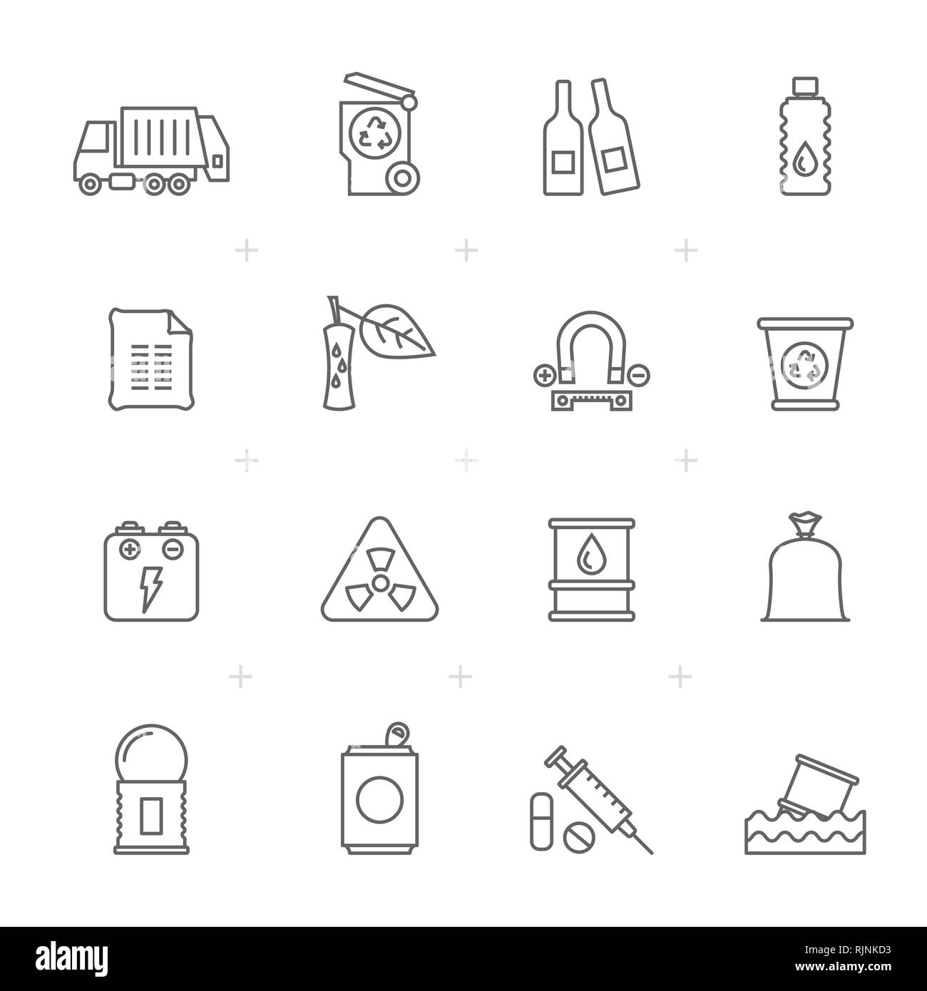 Line Garbage and rubbish icons - vector icon set - Stock Vector