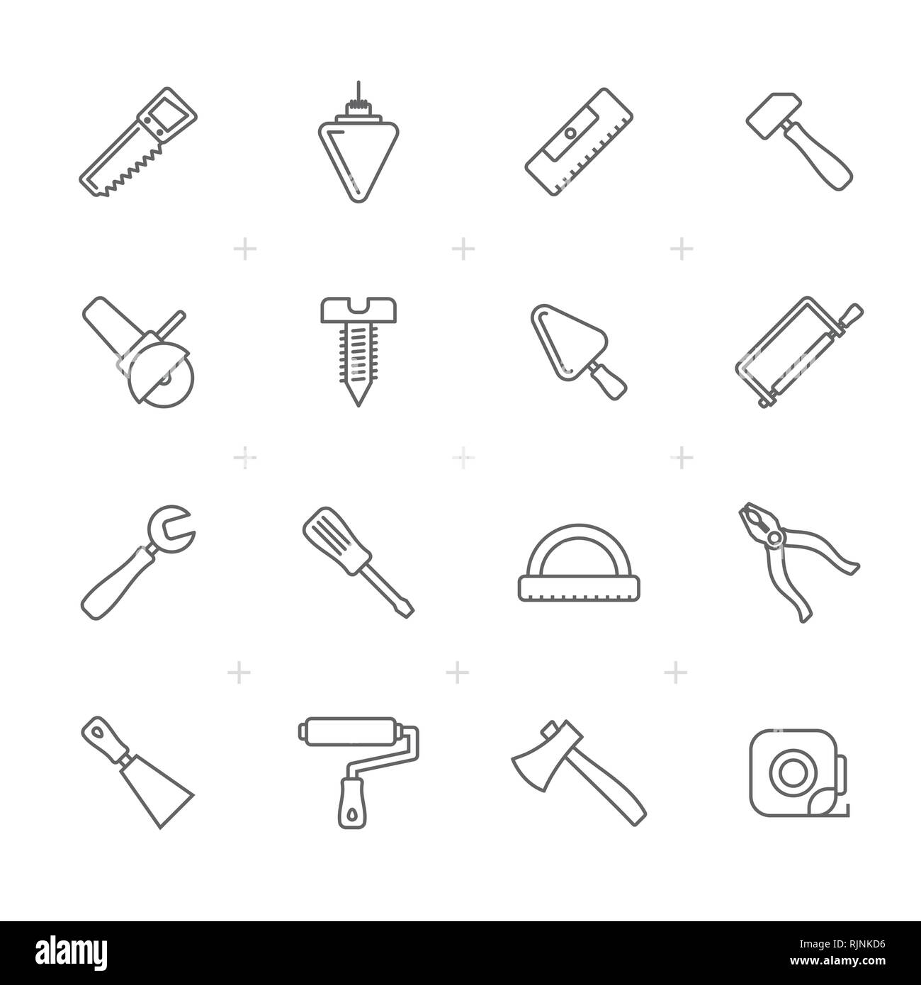 Line Building and Construction Tools icons - Vector Icon Set - Stock Vector