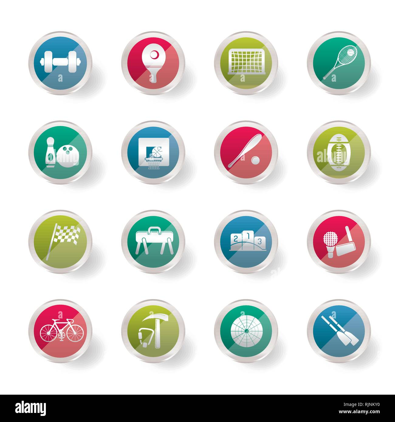 Stylized  Simple Sports gear and tools icons over colored background - vector icon set - Stock Vector