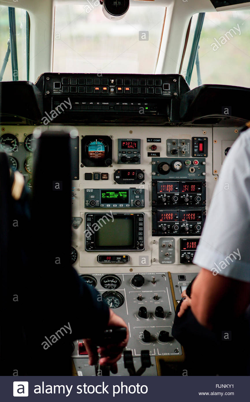 Cockpit of a BAe Jetstream 32 plane taking of from Madeira Airport in Funchal, Madeira Islands, Portugal. - Stock Image