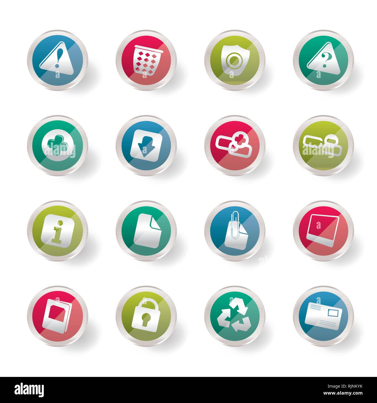 Stylized Web site and computer Icons over colored background - Vector Icon Set - Stock Vector