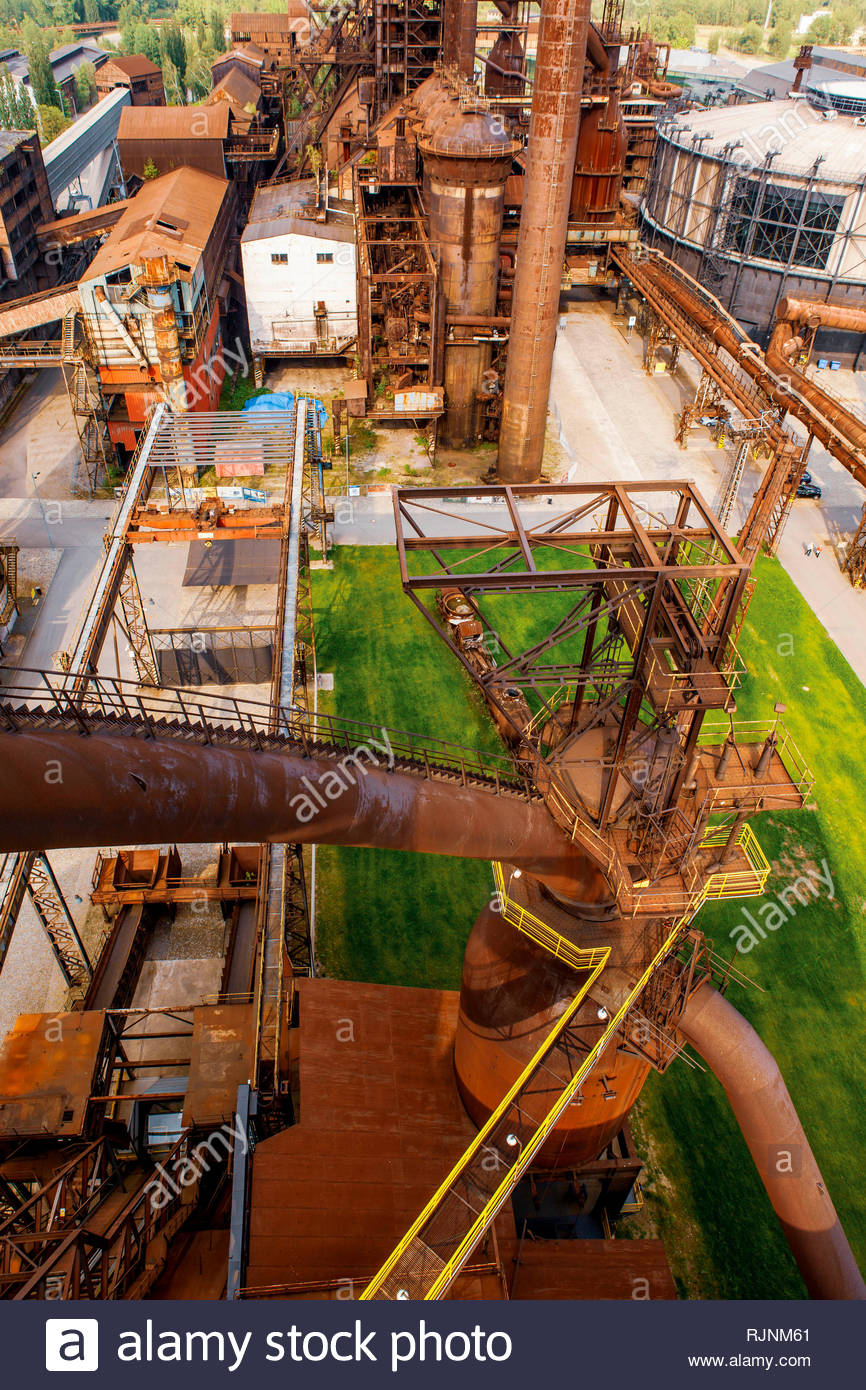 Old iron works factory near Ostrava, the capital of the Moravian-Silesian Region in the Czech Republic - Stock Image