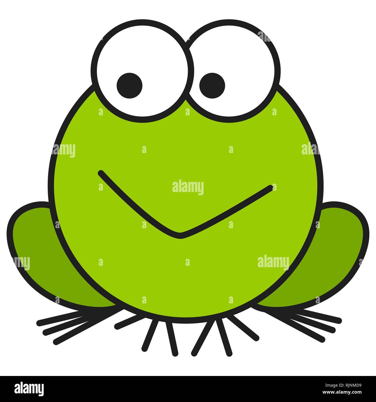Frog in cartoon style. On white background,  illustration Stock Photo