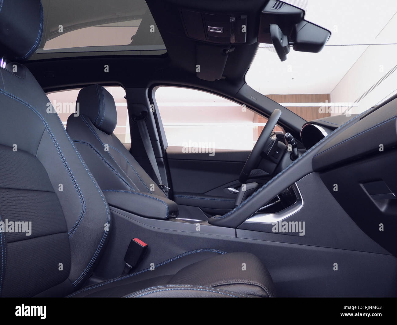 Blue Stitched Leather Of Interior Parts Inside A Car Stock Photo