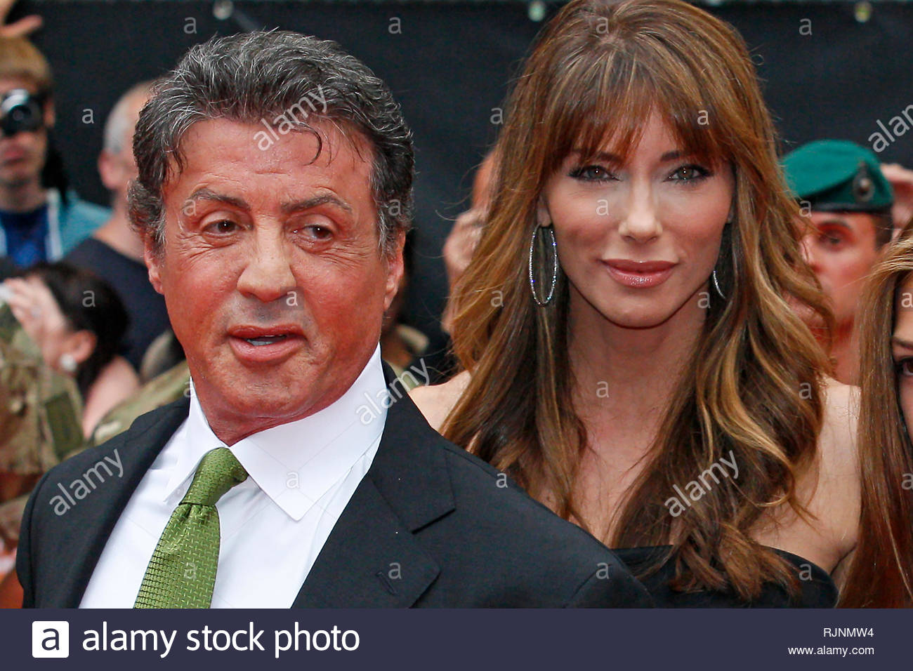 Sylvester Stallone & his wife Jennifer Flavin and daughters at film premiere in London. 13 August 2012. Stock Photo