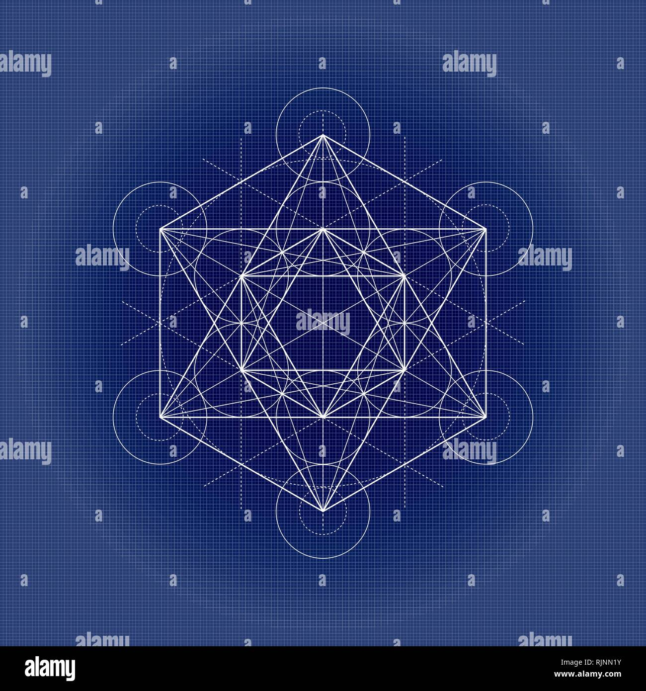Metatrons cube, sacred geometry illustration on technical paper - Stock Image