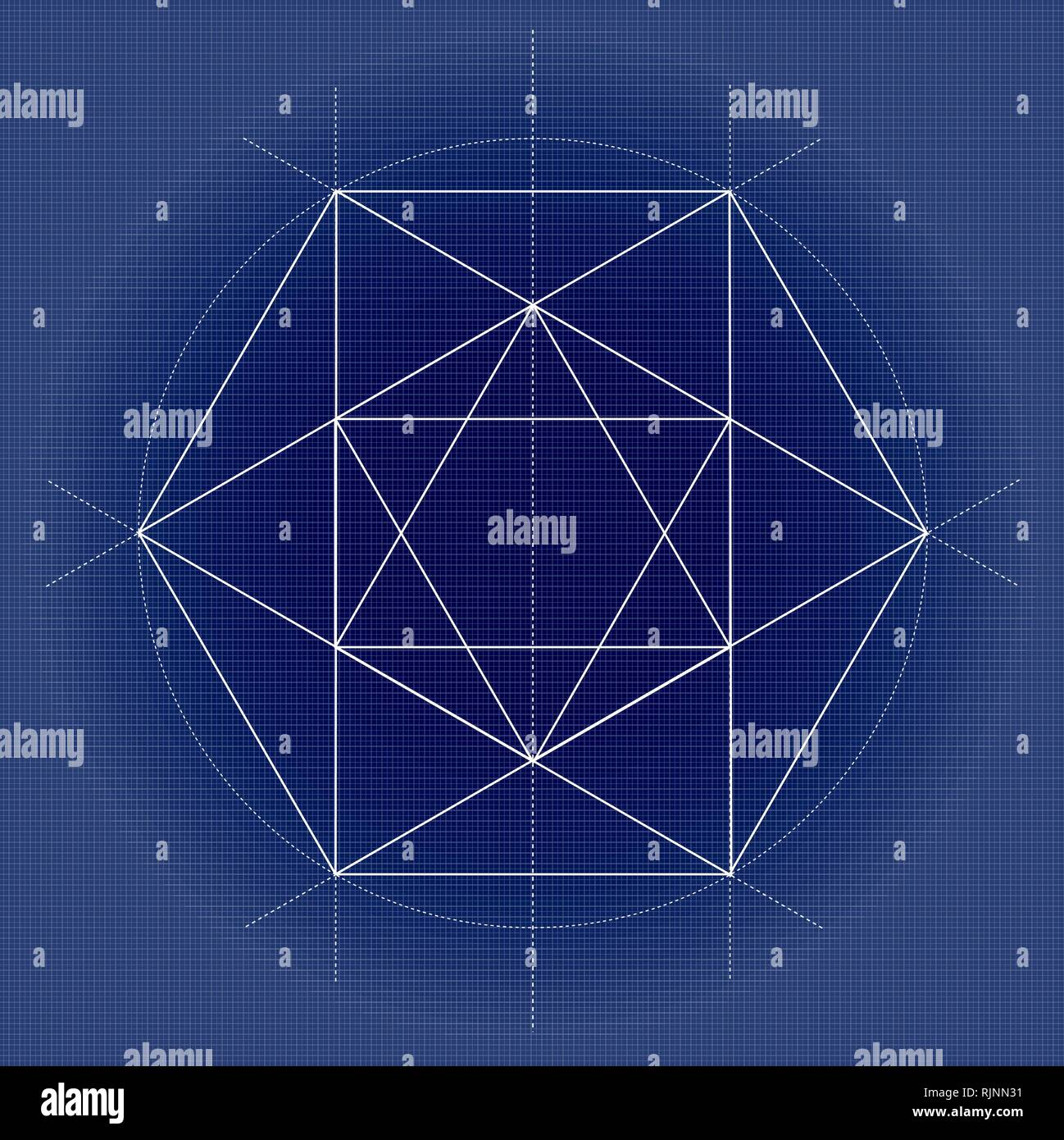 sacred geometry vector illustration on technical paper - Stock Image