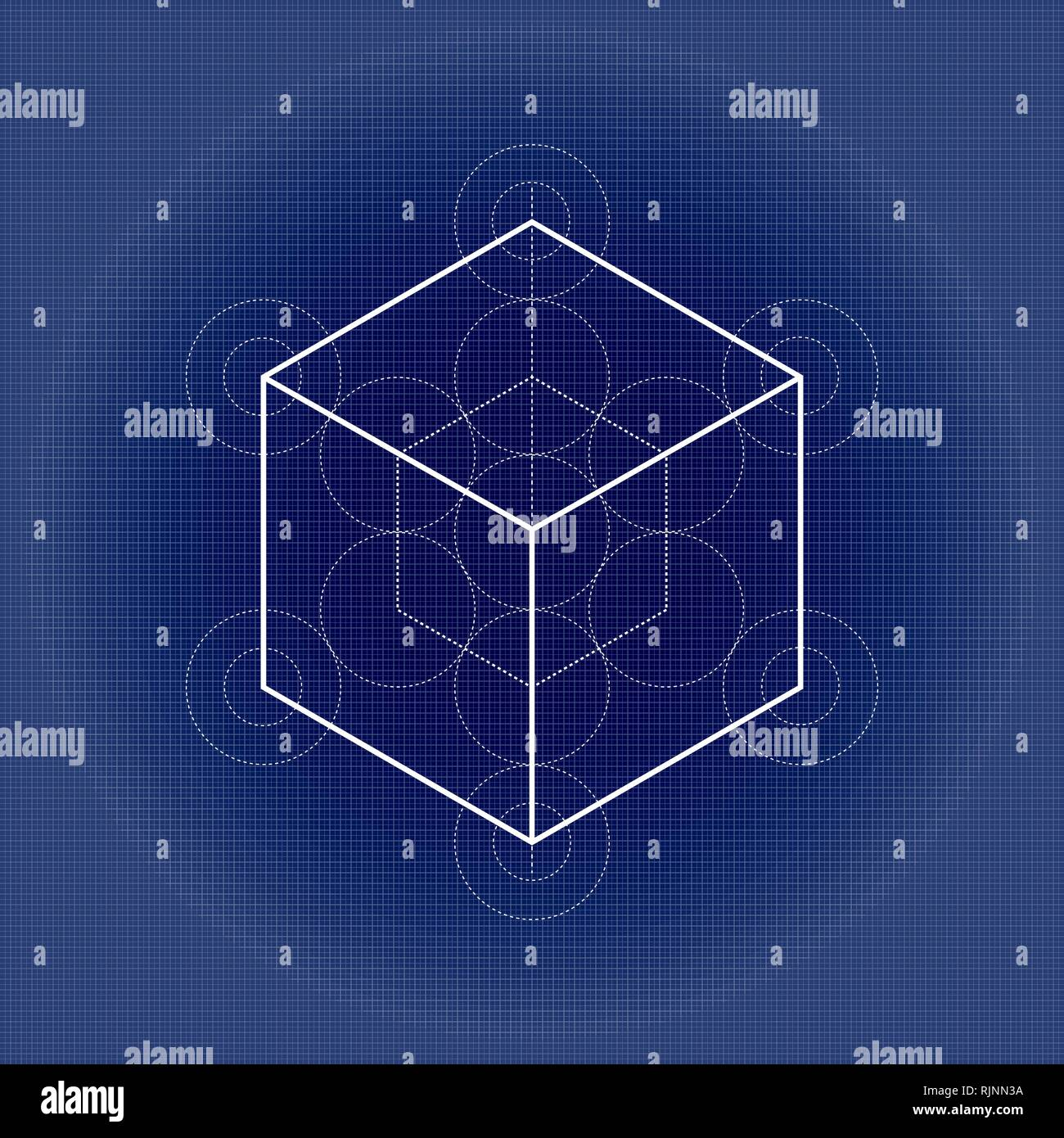 Hexahedron from Metatrons cube, sacred geometry illustration on technical paper - Stock Image